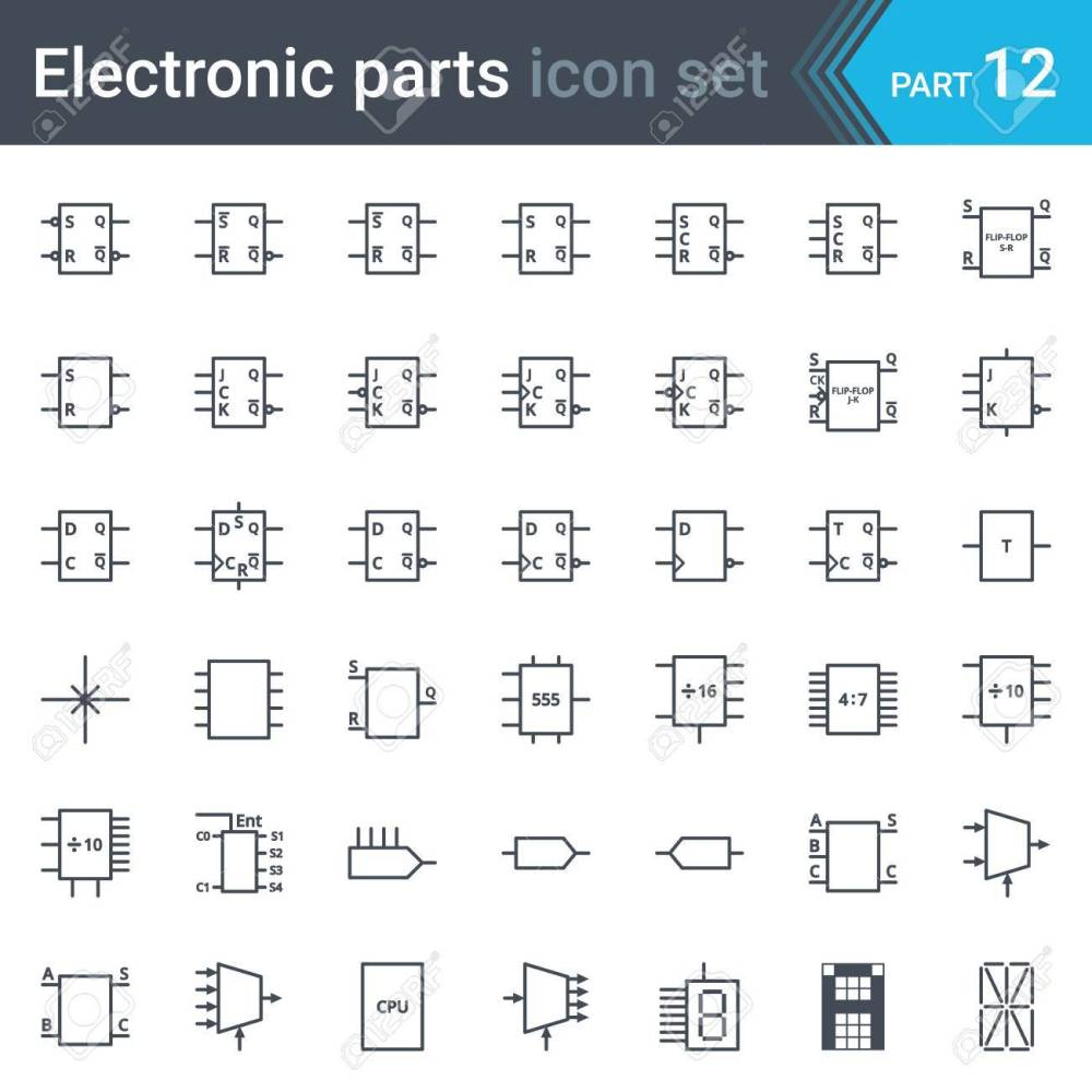 medium resolution of vector set of electronic and electronic circuit diagrams symbols and elements digital electronics flip