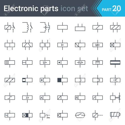 small resolution of complete set of electric and electronic circuit diagram symbols and elements relays and electromagnets stock