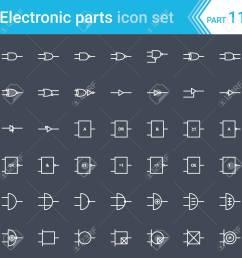 electric and electronic icons electric diagram symbols digital electronics logic gate ansi [ 1300 x 1300 Pixel ]