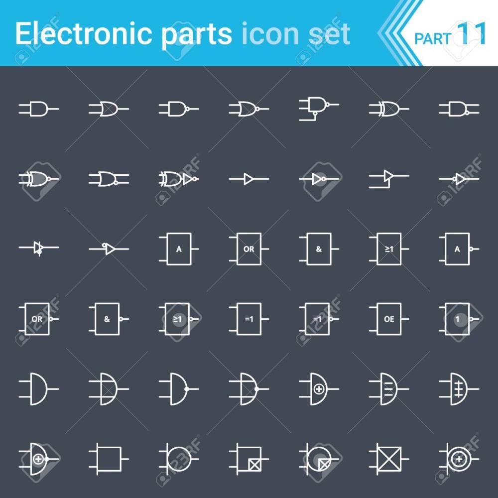 medium resolution of electric and electronic icons electric diagram symbols digital electronics logic gate ansi