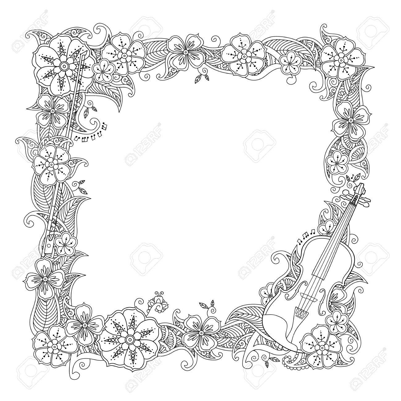 Coloring Page Border Square Frame With Violin Isolated On