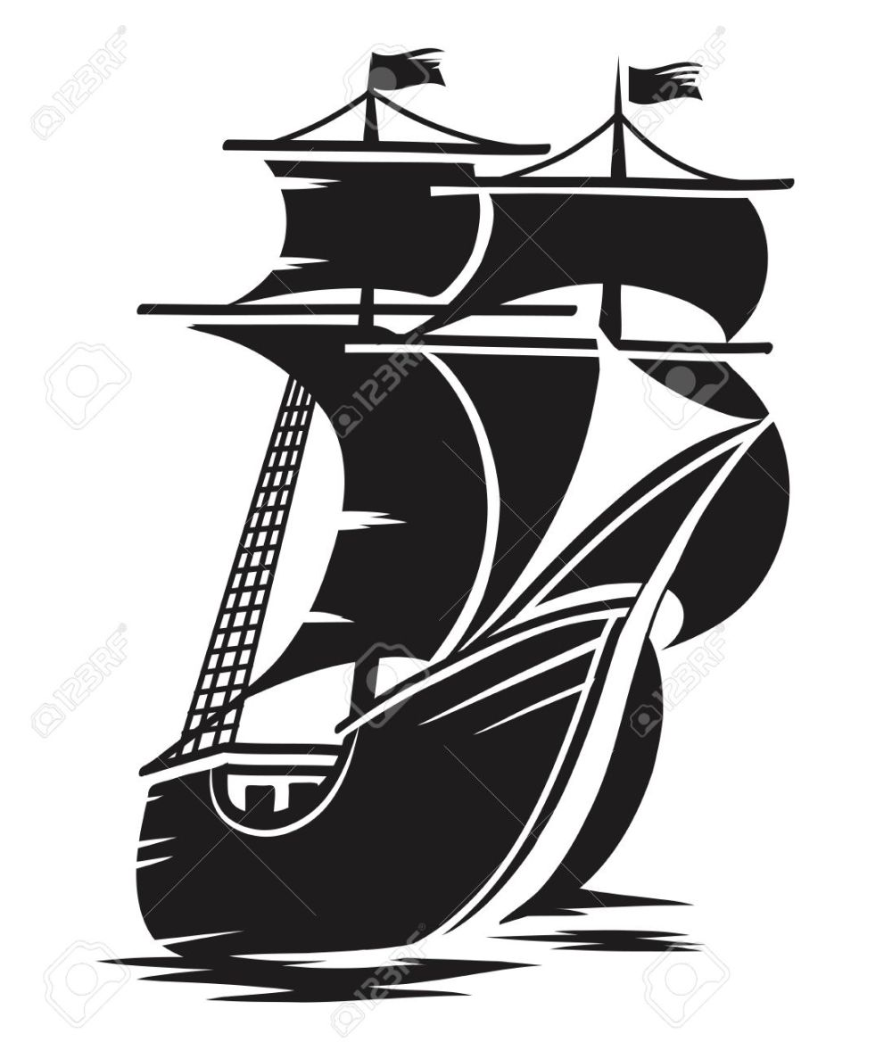 medium resolution of vector vector black and white schematic drawing of the ship