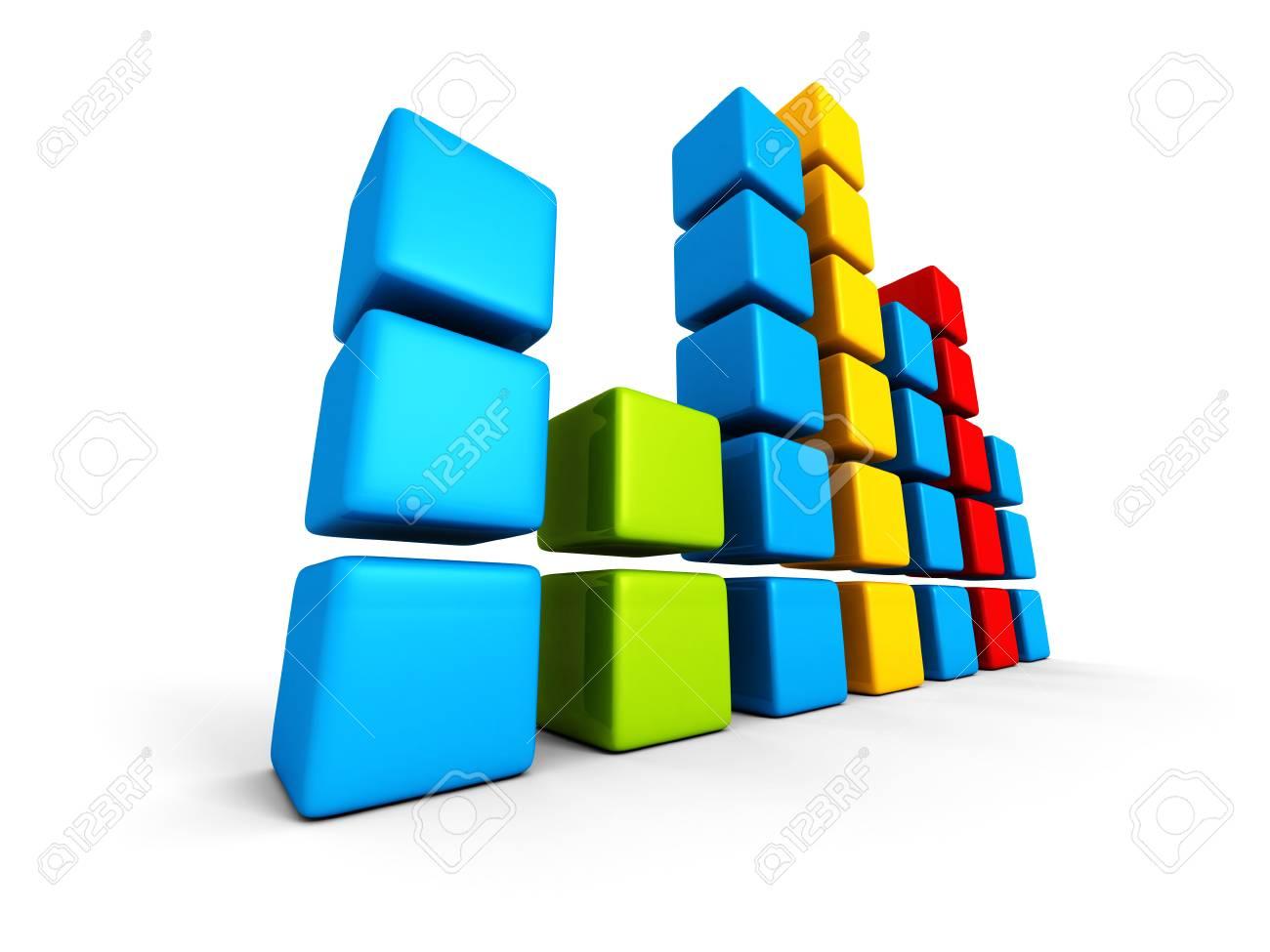 hight resolution of colorful block bar chart diagram on white background 3d render illustration stock illustration 32458778