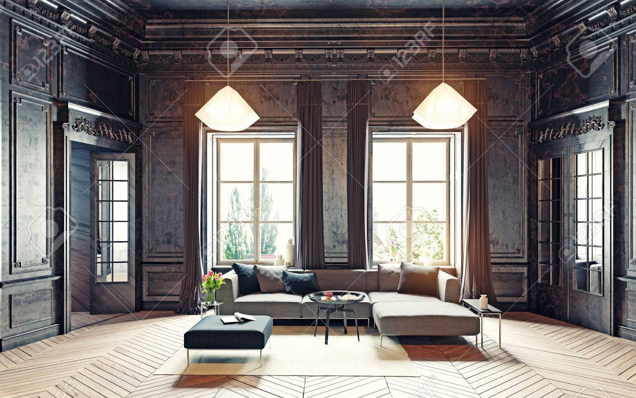 modern black living room best colors for 2018 style apartment 3d rendering stock photo 63195338