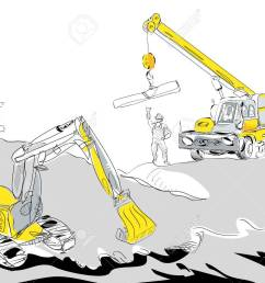 hand drawn illustration of a hydraulic excavator and mobile crane working construction concept stock vector [ 1300 x 1009 Pixel ]