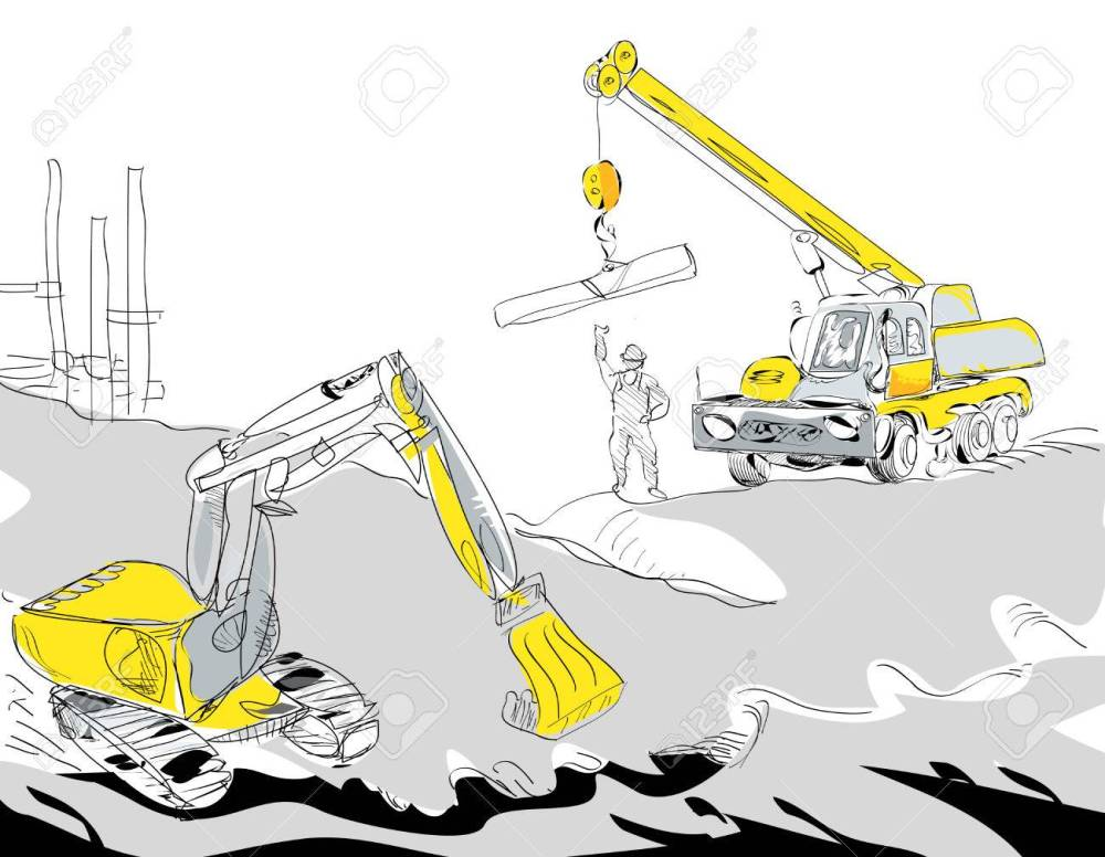 medium resolution of hand drawn illustration of a hydraulic excavator and mobile crane working construction concept stock vector