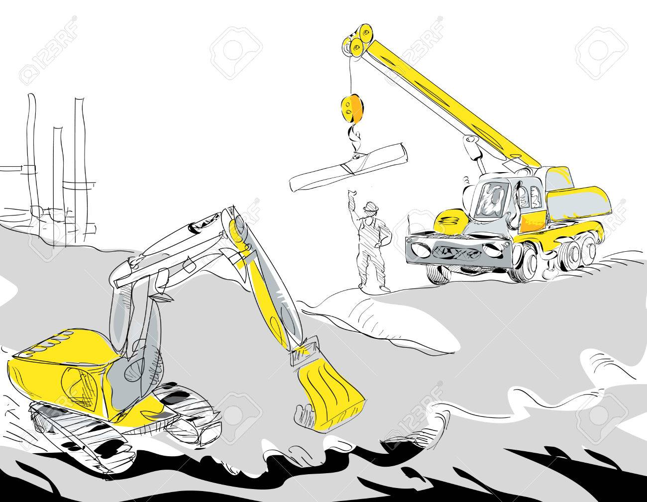 hight resolution of hand drawn illustration of a hydraulic excavator and mobile crane working construction concept stock vector