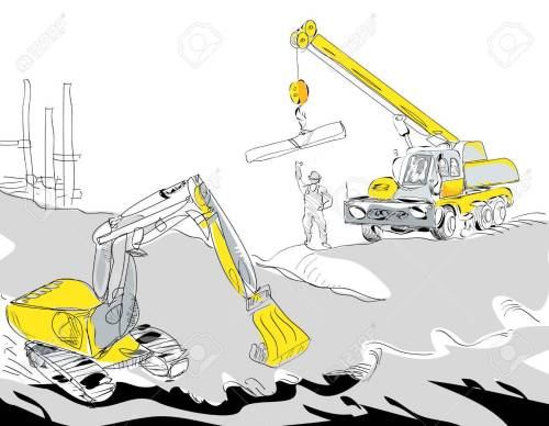 small resolution of hand drawn illustration of a hydraulic excavator and mobile crane working construction concept stock vector