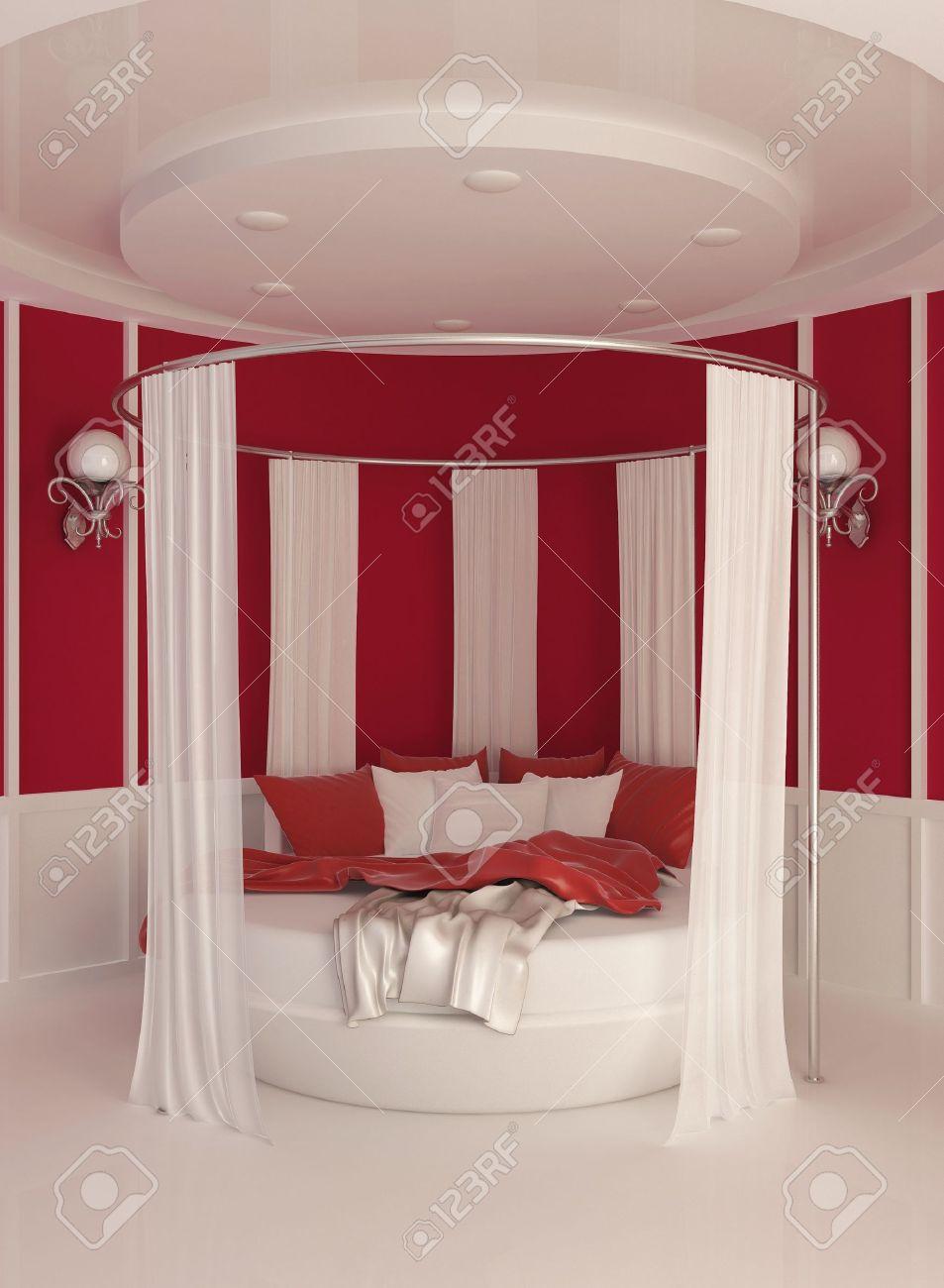 lit rond avec rideau interieur moderne