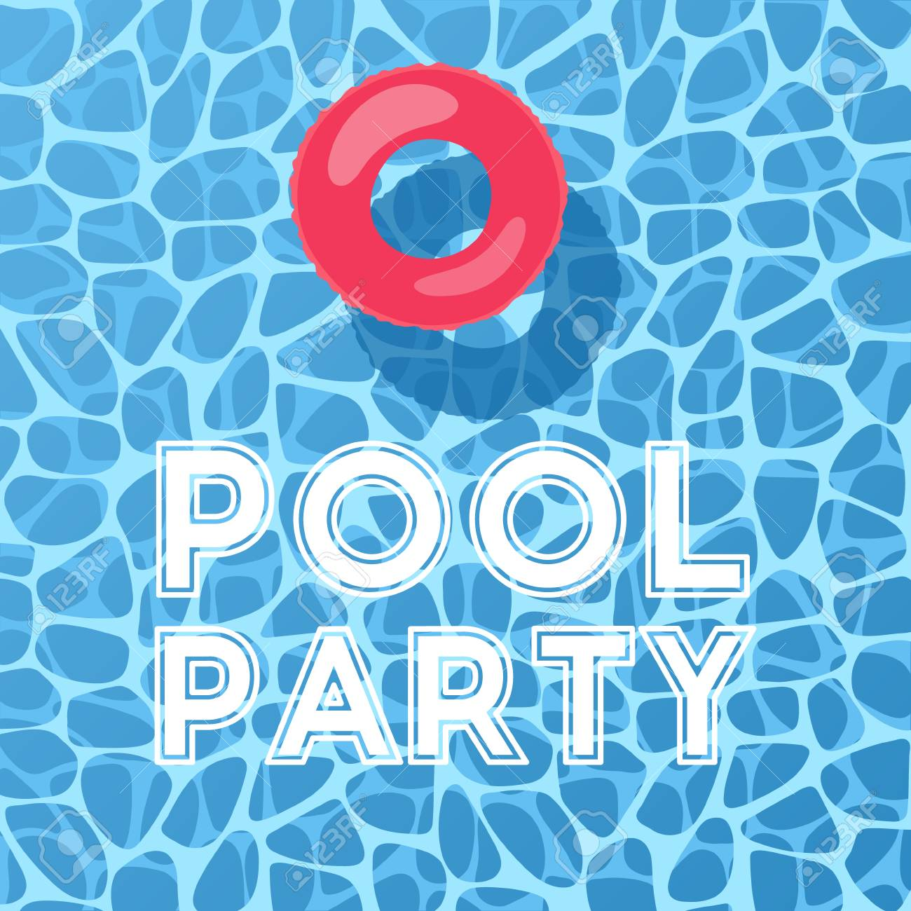 Pool And Inflatable Ring, View From Above. Pool Party Invitation. Vector  Background.