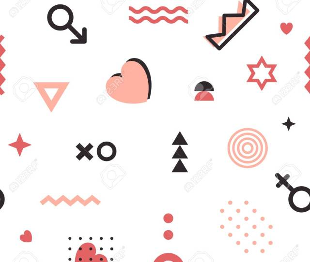 Valentines Geometric Pattern In Memphis Style Vector Wallpaper With Line Elements Abstract Geometric Figures