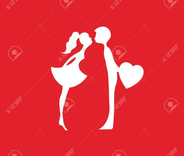 Red Silhouettes Of Kissing Boy And Girl Kissing Couple Of Young