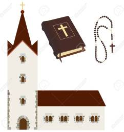 religious set with church holy bible rosary beads vector isolated christian catholic [ 1300 x 1300 Pixel ]