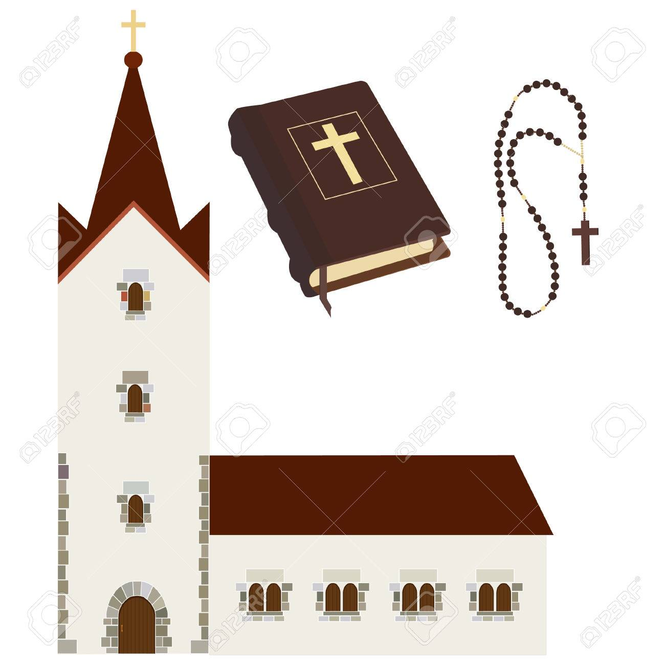 hight resolution of religious set with church holy bible rosary beads vector isolated christian catholic