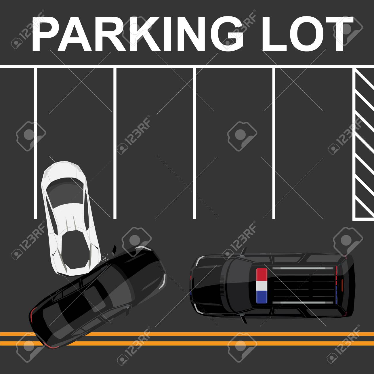 hight resolution of raster illustration top view of car accident with white sport car and black sedan on road