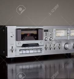 stock photo vintage stereo cassette tape deck recorder [ 1300 x 866 Pixel ]