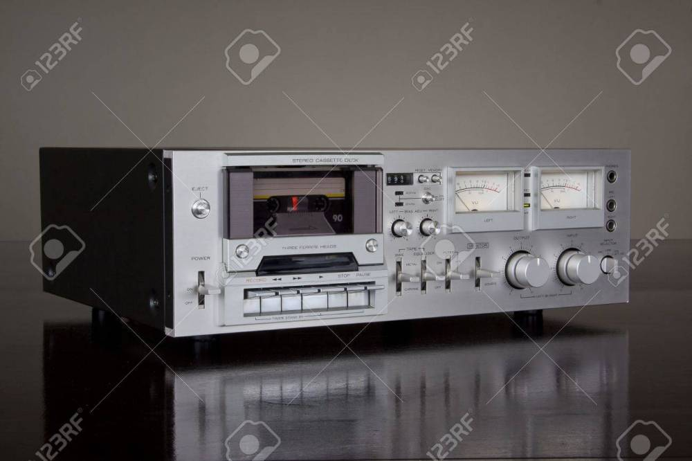 medium resolution of stock photo vintage stereo cassette tape deck recorder