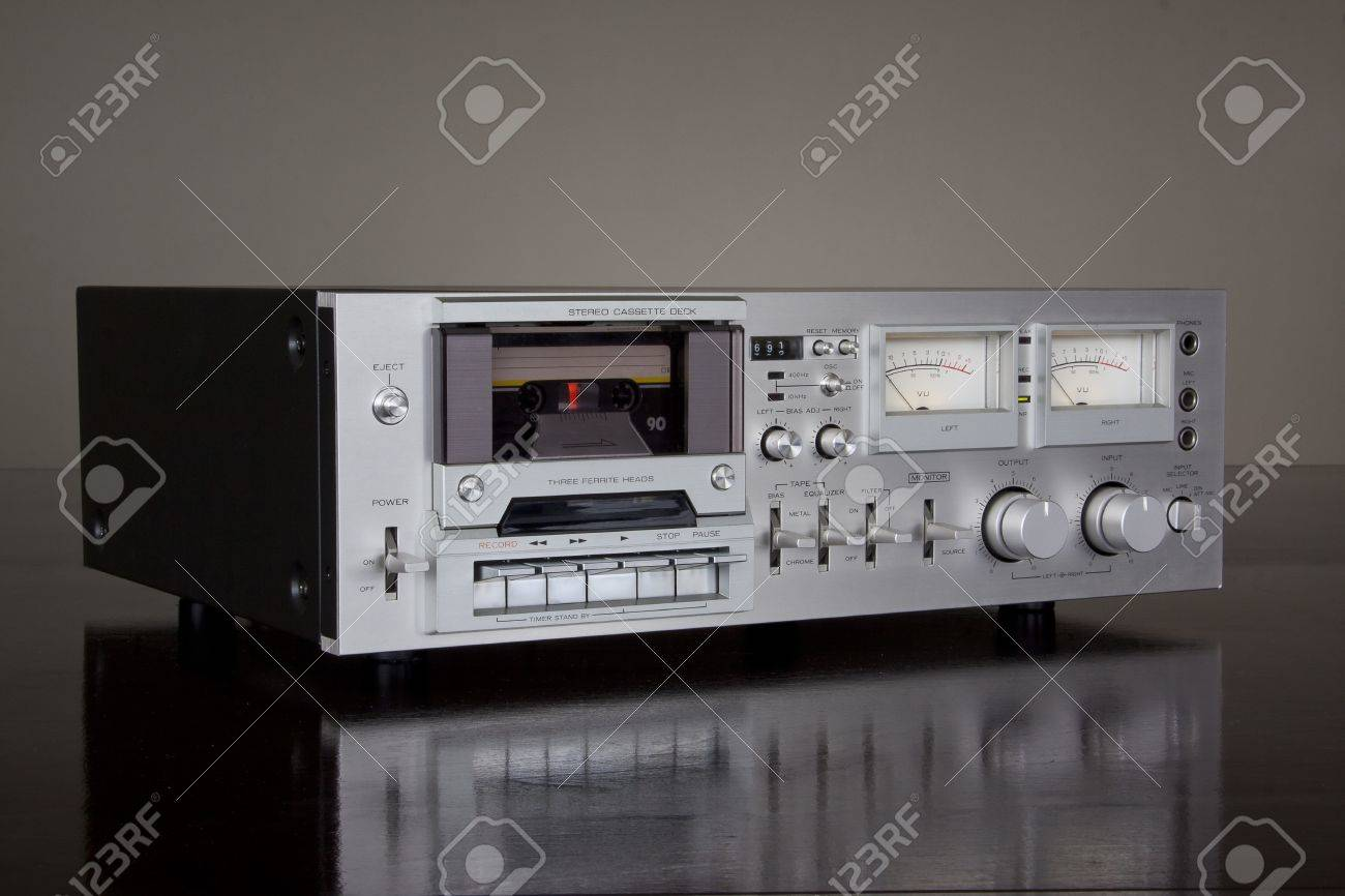 hight resolution of stock photo vintage stereo cassette tape deck recorder
