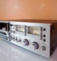stock photo vintage stereo cassette tape deck recorder or player [ 1300 x 892 Pixel ]