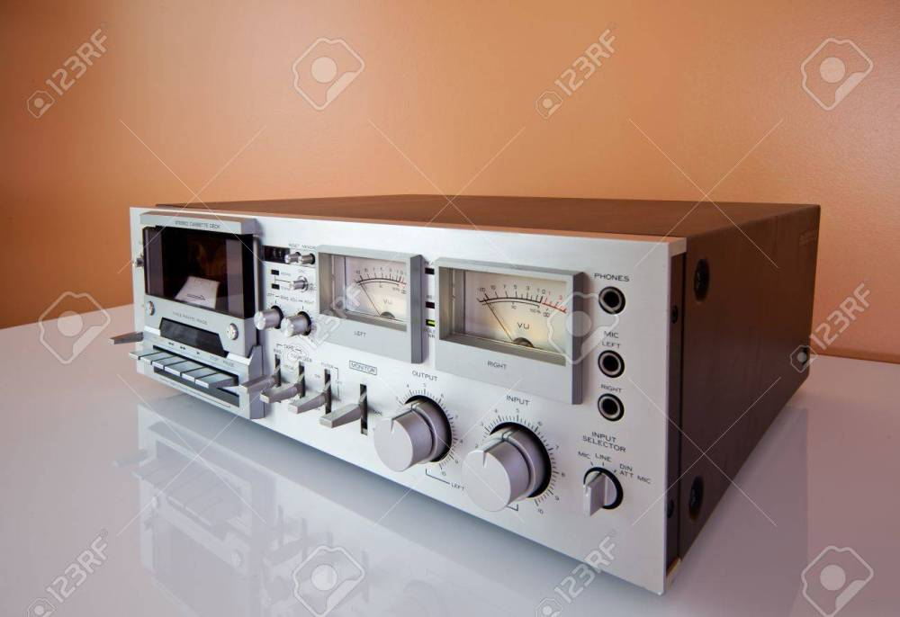 medium resolution of stock photo vintage stereo cassette tape deck recorder or player