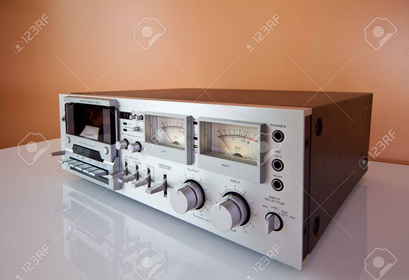 hight resolution of stock photo vintage stereo cassette tape deck recorder or player