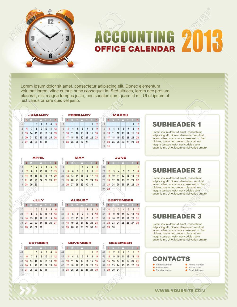 2013 Accounting Corporate Office Calendar Template Grid With Week Numbers  Stock Vector 15099144
