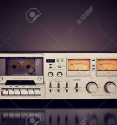 stock photo vintage stereo cassette tape deck recorder front [ 1300 x 866 Pixel ]