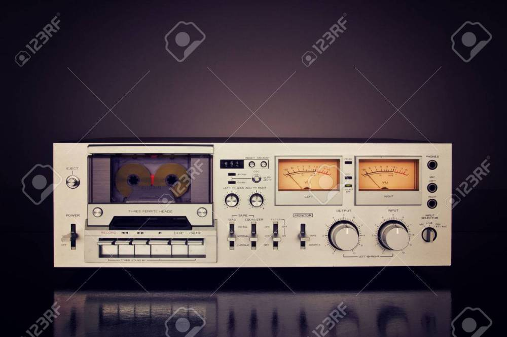 medium resolution of stock photo vintage stereo cassette tape deck recorder front