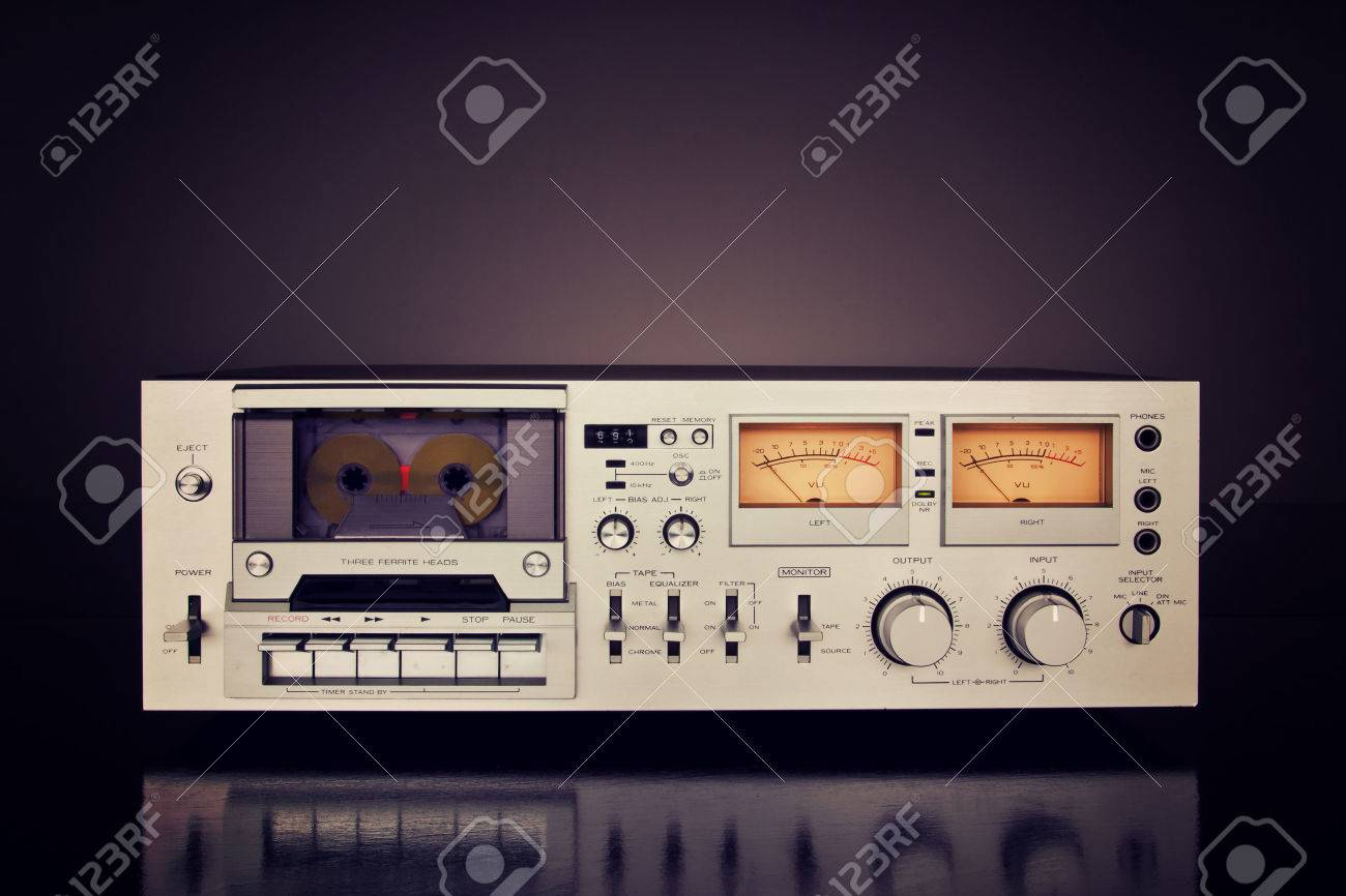 hight resolution of stock photo vintage stereo cassette tape deck recorder front