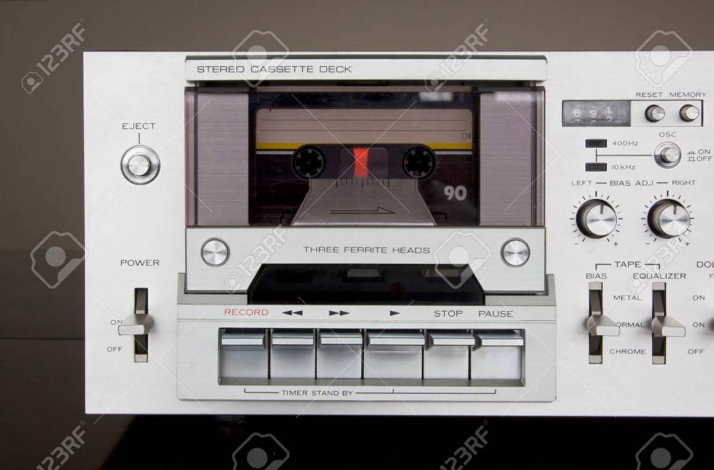 medium resolution of stock photo vintage stereo cassette tape deck recorder front closeup