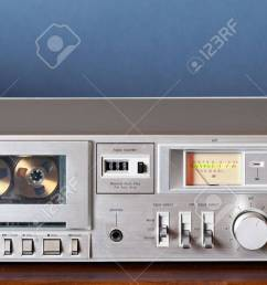 stock photo vintage stereo cassette tape deck player recorder [ 1300 x 660 Pixel ]