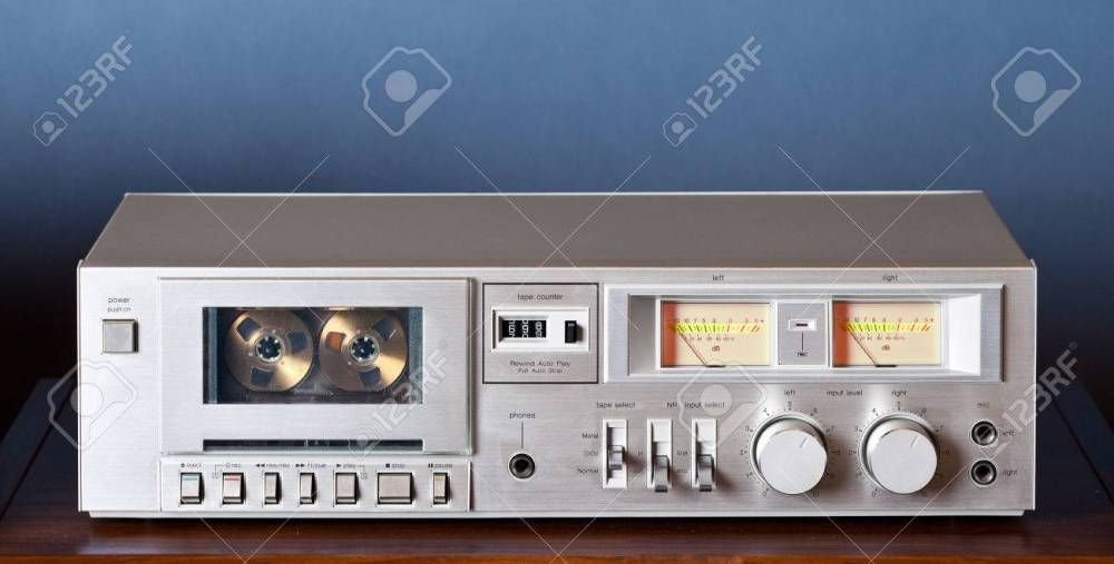 medium resolution of stock photo vintage stereo cassette tape deck player recorder
