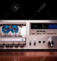 stock photo vintage stereo cassette tape deck player recorder front panel [ 1300 x 847 Pixel ]