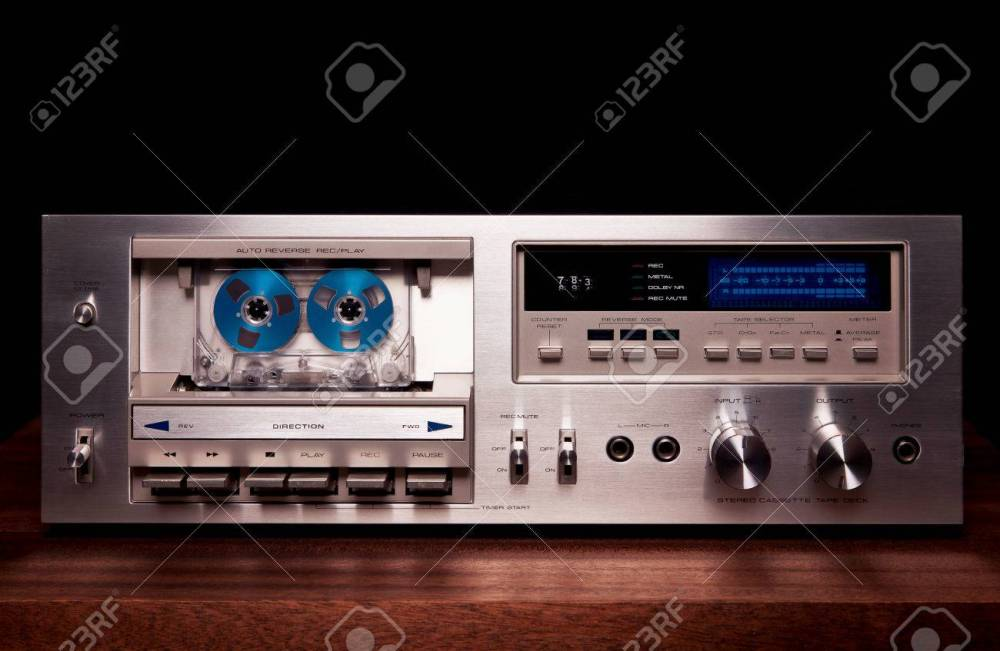 medium resolution of stock photo vintage stereo cassette tape deck player recorder front panel