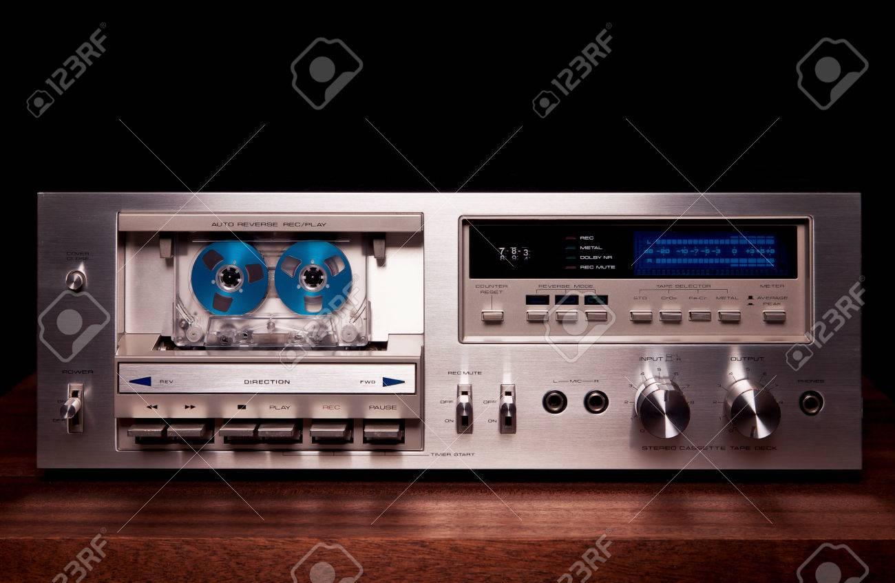 hight resolution of stock photo vintage stereo cassette tape deck player recorder front panel