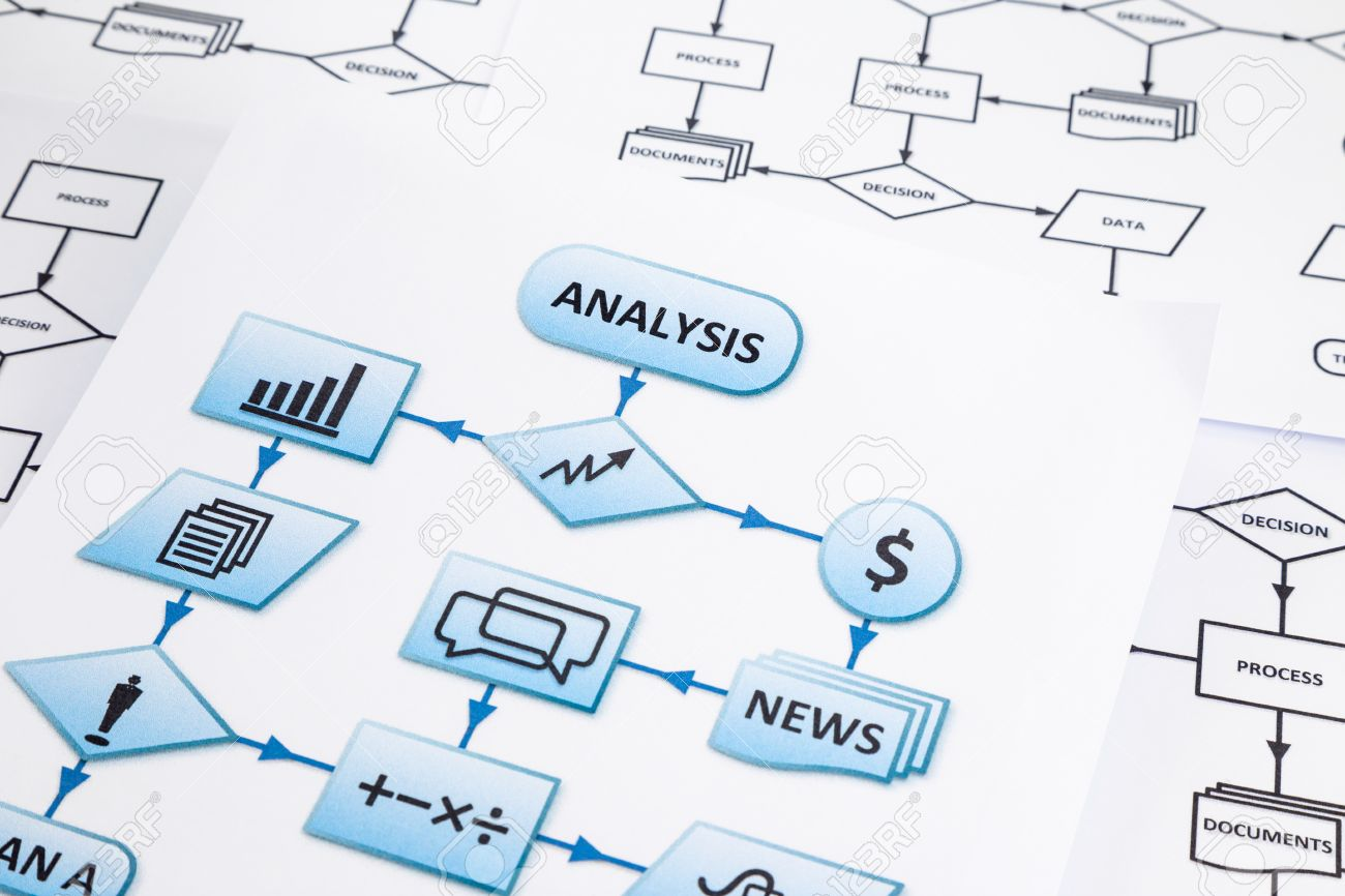 hight resolution of stock photo worksheets of business process analysis with arrows and symbols in blue process flow chart focus on analysis word