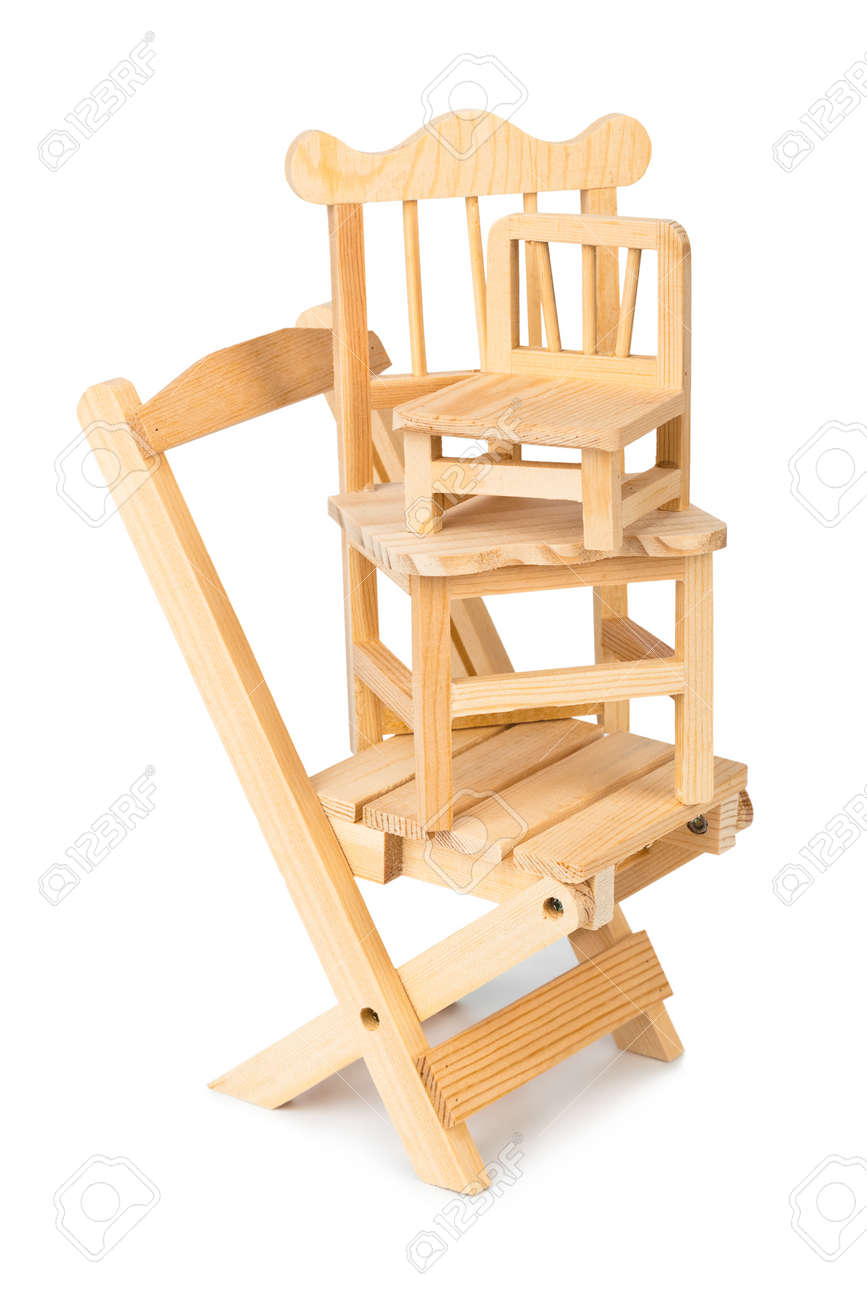 Toddler Wooden Chair Stacked Toy Wooden Chairs Isolated On White Background