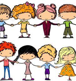 cartoon cute children holding hands stock vector 11325663 [ 1300 x 612 Pixel ]