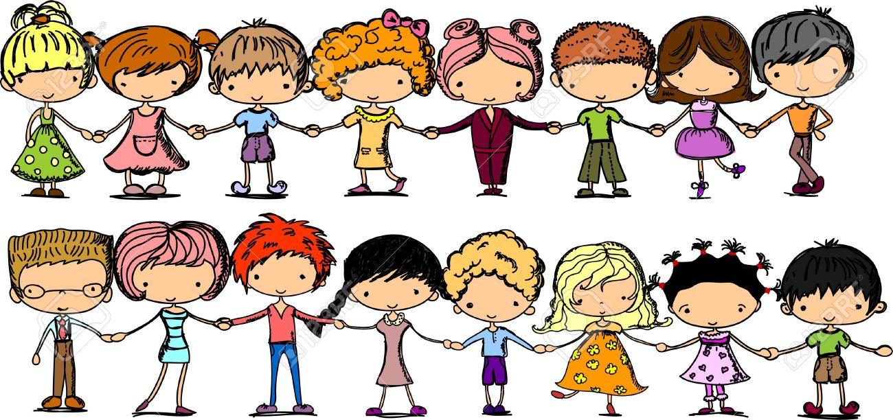 hight resolution of cartoon cute children holding hands stock vector 11325663