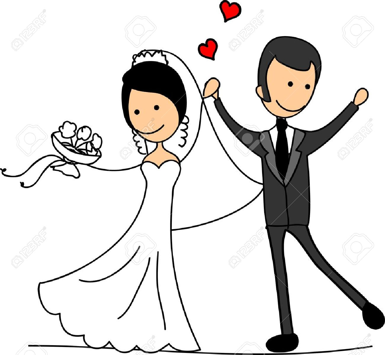 hight resolution of sweethearts and happy bride and groom stock vector 11498767