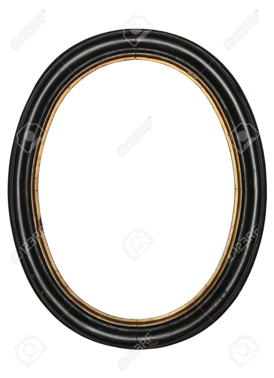 vieux cadre ovale en bois fond blanc isole