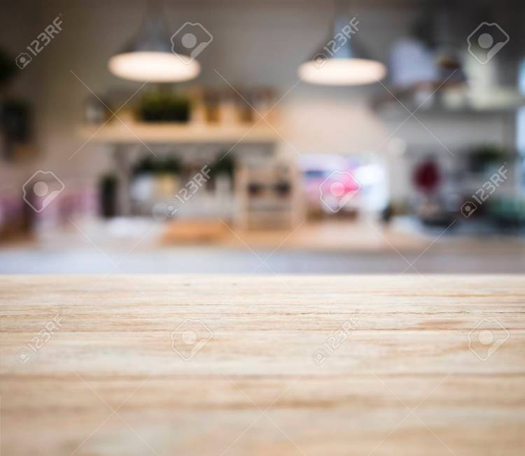 Table Top Wooden Counter Blur Kitchen Pantry With Shelf And Lighting Stock Photo Picture And Royalty Free Image Image 96800081