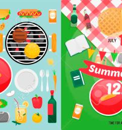 constructor design for picnic card with barbecue vector elements picnic clipart items summer family [ 1300 x 650 Pixel ]