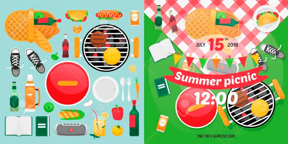medium resolution of constructor design for picnic card with barbecue vector elements picnic clipart items summer family