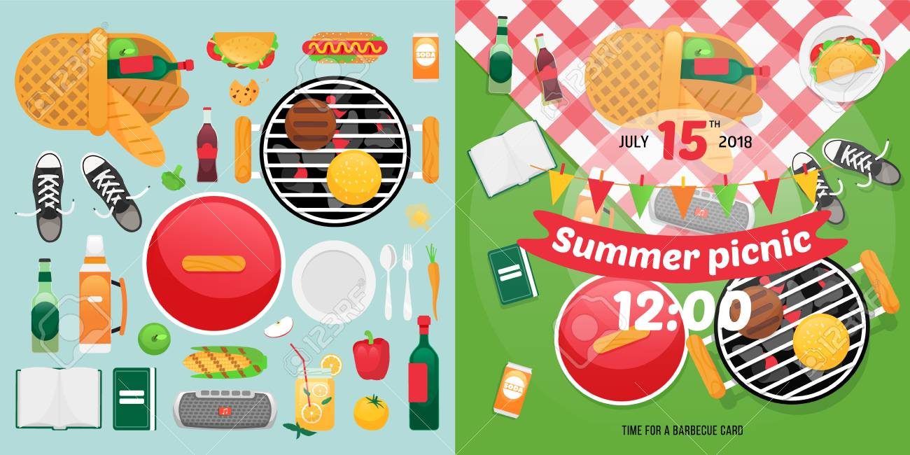 hight resolution of constructor design for picnic card with barbecue vector elements picnic clipart items summer family