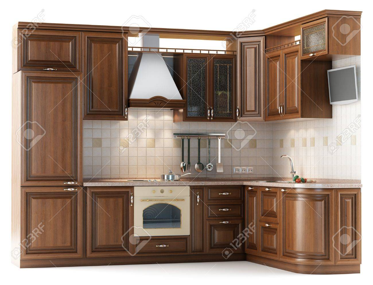 kitchen furniture pantry cabinet plans beautiful made of wood in the studio lightingisolated on white stock photo 13646151