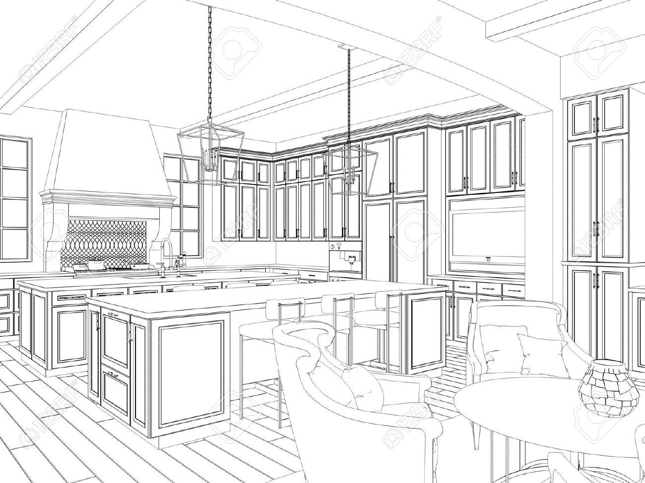 Kuche 3d Zeichnen Haus Planen Zeichnen