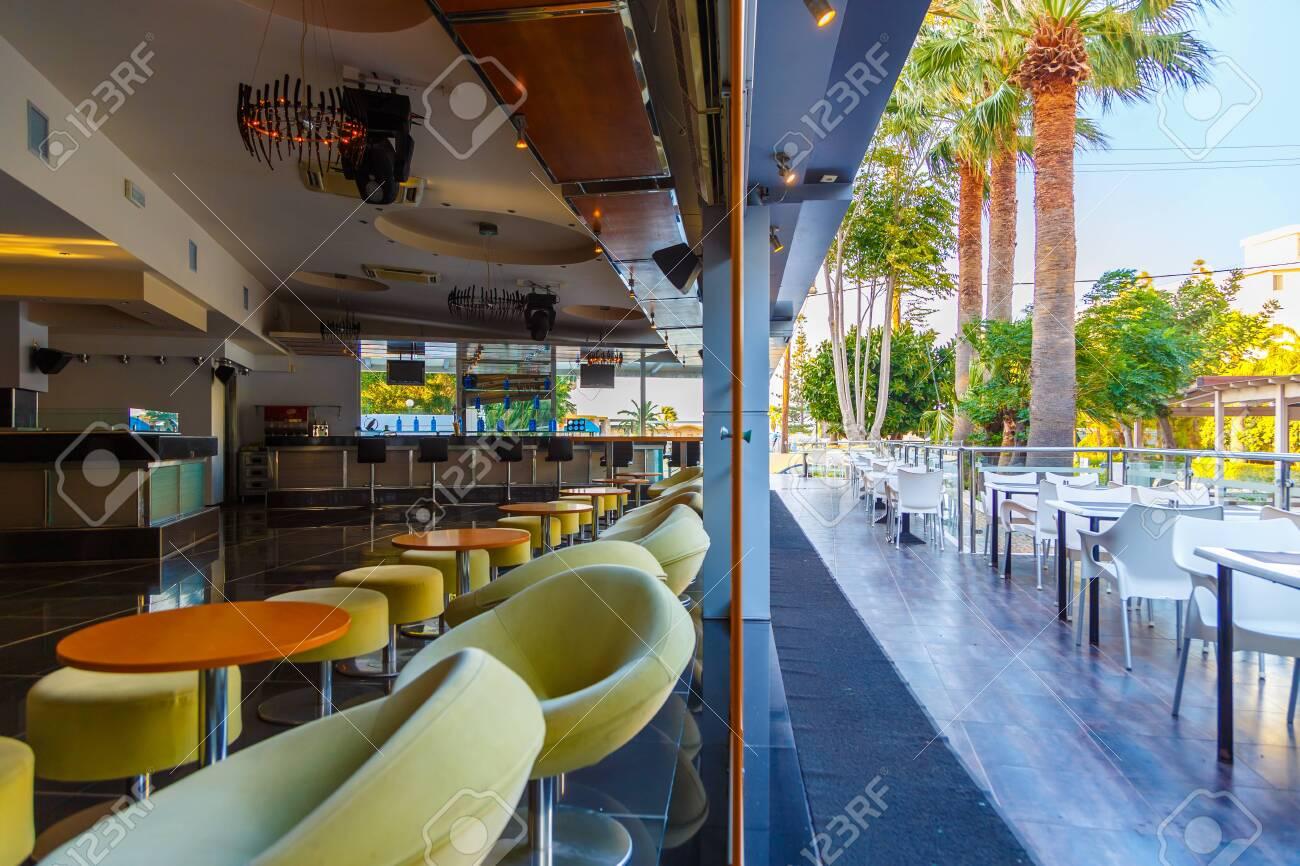 lounge bar of modern european resort hotel interior with terrace
