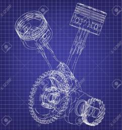 motorcycle engine on a blue background drawing stock vector 118029004 [ 1300 x 1300 Pixel ]