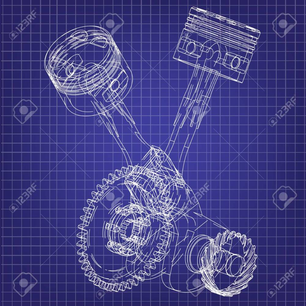 medium resolution of motorcycle engine on a blue background drawing stock vector 118029004
